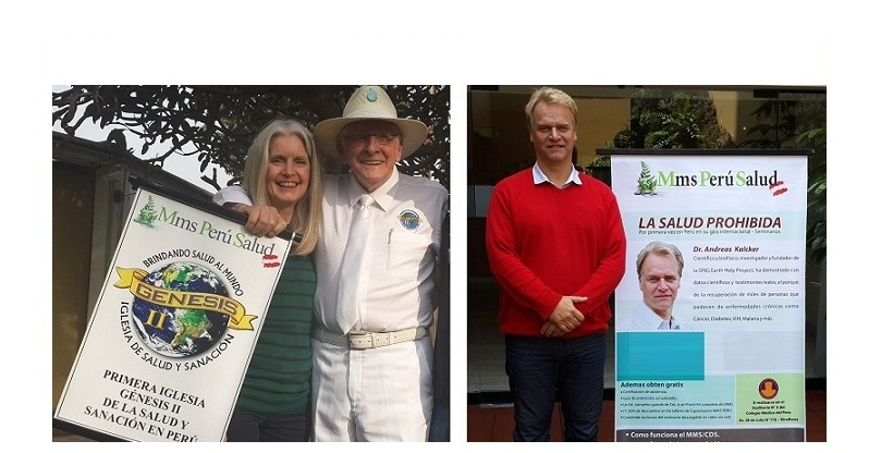 Jim Humble y Andreas Kalcker apoyando a MMS Perú Salud.